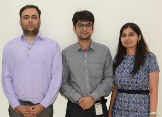 Intello Labs founders, (Left to Right) Nishant Mishra, Milan Sharma, and Himani Shah